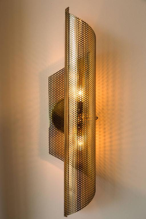 Brass Rolled Perforated Sconce by Lawson-Fenning In Excellent Condition For Sale In Los Angeles, CA