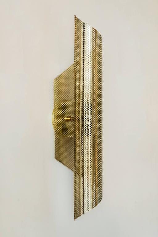 Mid-Century Modern Brass Rolled Perforated Sconce by Lawson-Fenning For Sale