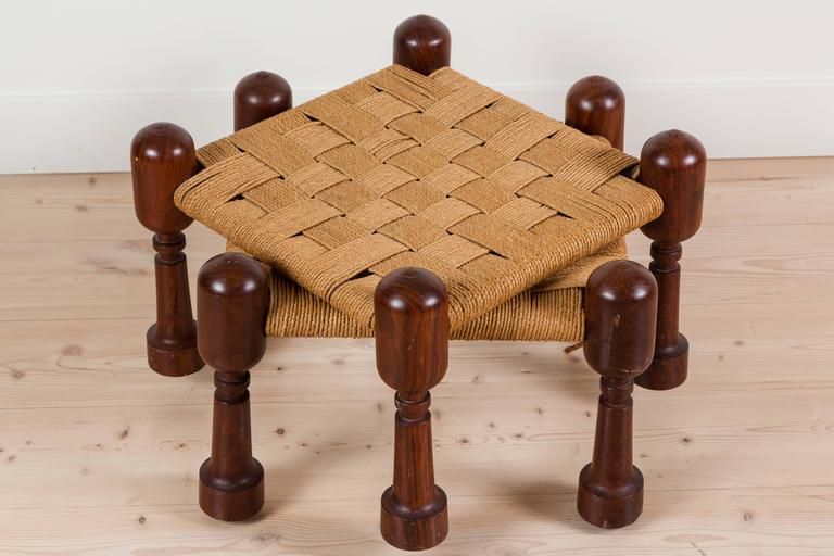 Pair Of Turned Wood Stools With Woven Rush Seats At 1stdibs