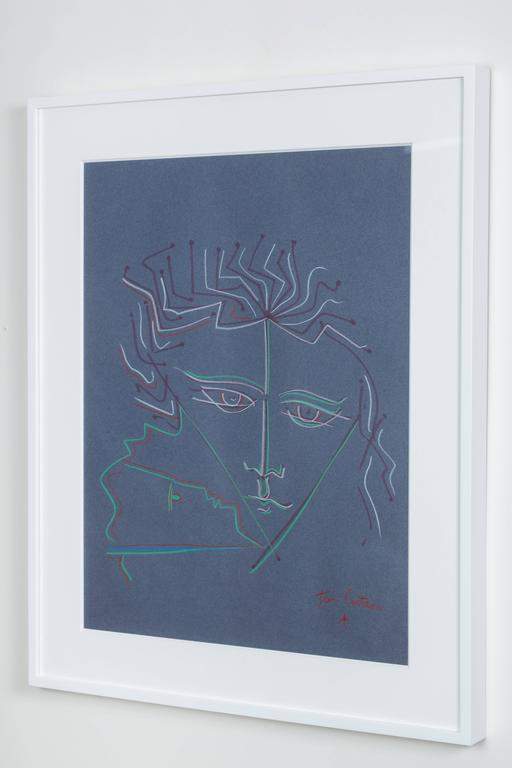 Mid-Century Modern Pastel on Paper Attributed to Jean Cocteau For Sale