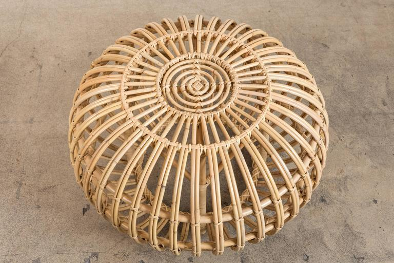 Small Rattan Ottoman by Franco Albini, Re-Edition In Excellent Condition For Sale In Los Angeles, CA