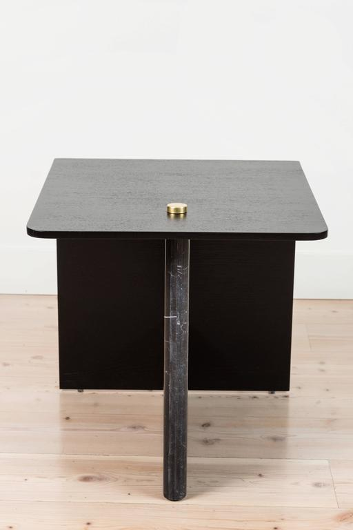 Huxley side table by Lawson-Fenning in ebonized oak.