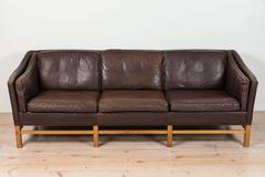 Leather and Oak Sofa in the Style of Børge Mogensen