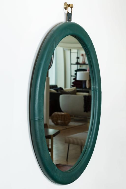 Mid-Century Modern Leather Oval Mirror by Jason Koharik for Collected by For Sale