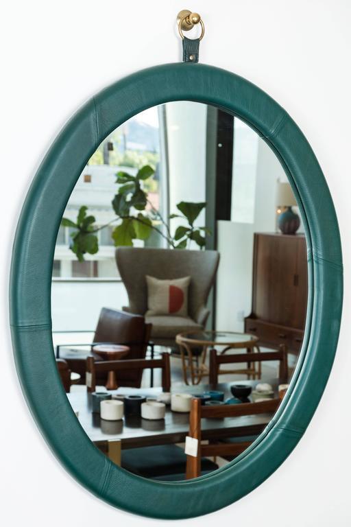 Leather Oval Mirror by Jason Koharik for Collected by 4
