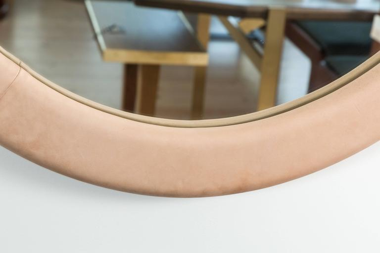 Contemporary Leather Oval Mirror by Jason Koharik for Collected by For Sale