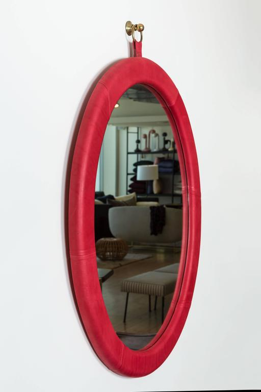 American Leather Oval Mirror by Jason Koharik for Collected by For Sale