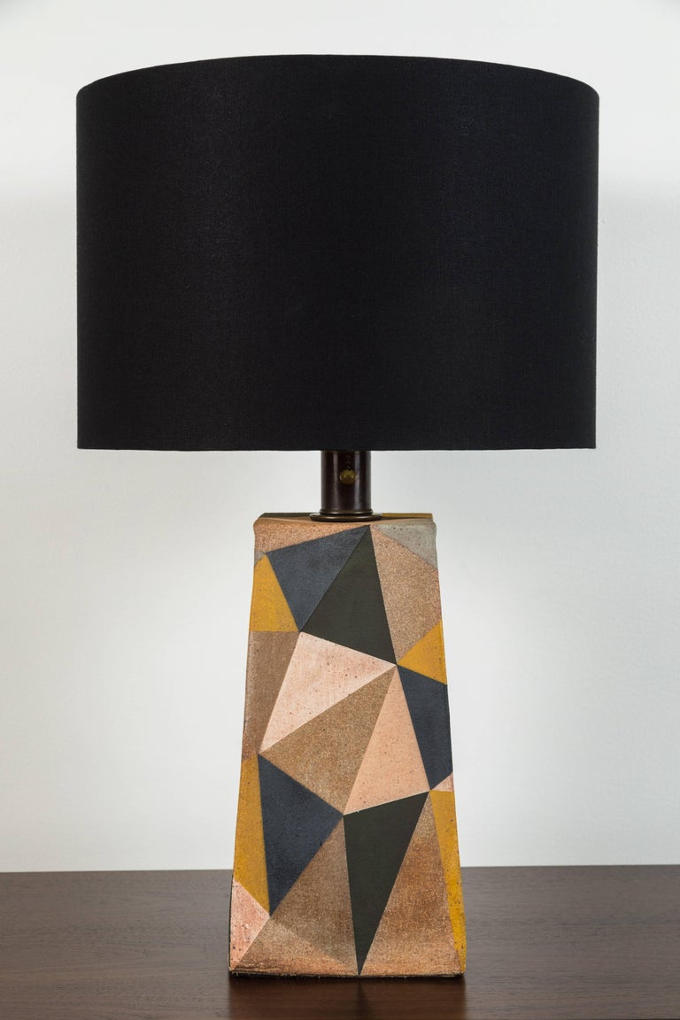 Hand-painted triangle Lamp by Mizrahi-Hellman Ceramics. Size large.