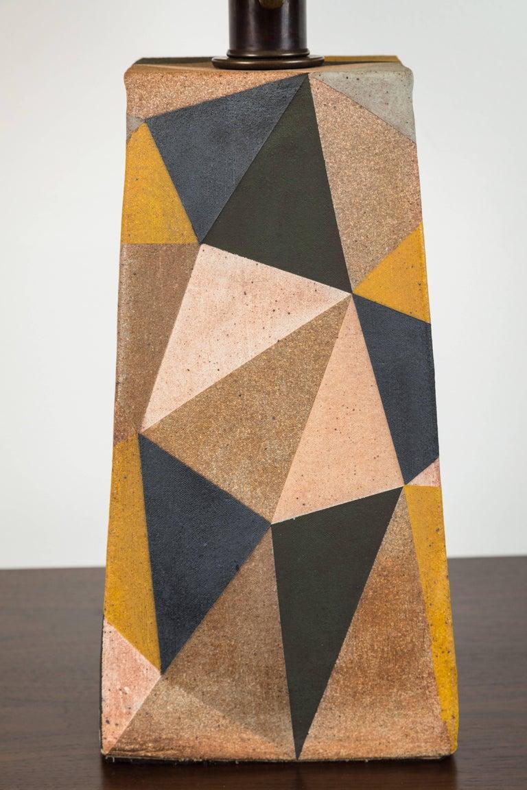 Mid-Century Modern Hand-Painted Triangle Lamp by Mizrahi-Hellman Ceramics For Sale