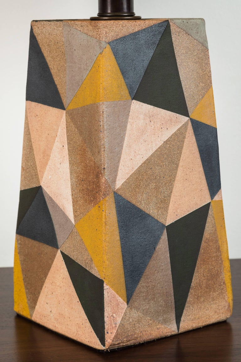 American Hand-Painted Triangle Lamp by Mizrahi-Hellman Ceramics For Sale