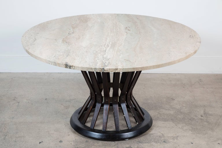 American Sheaf of Wheat Marble Coffee Table by Edward Wormly for Dunbar For Sale