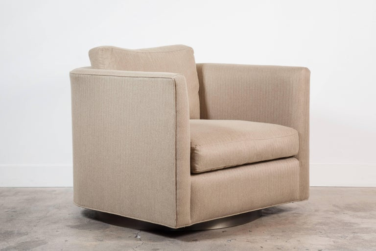 Pair of Curved Back Swivel Chairs by Lawson-Fenning 2