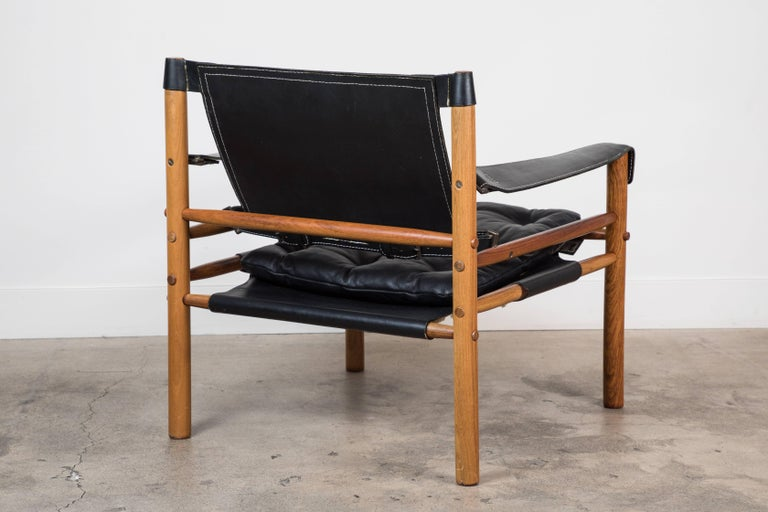 """Leather Rosewood """"Sirocco"""" Safari Chair by Arne Norell For Sale"""
