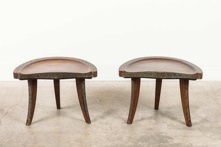 Pair of Early 20th Century Carved Walnut Stools In Excellent Condition For Sale In Los Angeles, CA