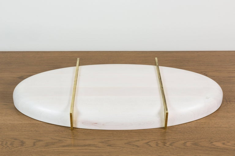 Bleached Maple and Brass Oval Tray by Vincent Pocsik 6