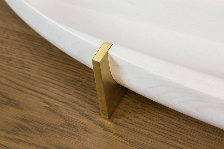 Bleached Maple and Brass Oval Tray by Vincent Pocsik 7