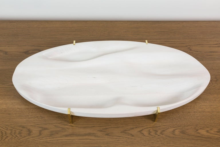 Bleached Maple and Brass Oval Tray by Vincent Pocsik for Lawson-Fenning For Sale 3