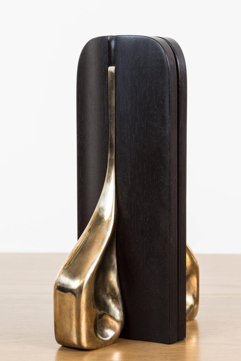 Pair of Blackened Walnut and Brass Bookends by Vincent Pocsik for Lawson-Fenning In Excellent Condition For Sale In Los Angeles, CA