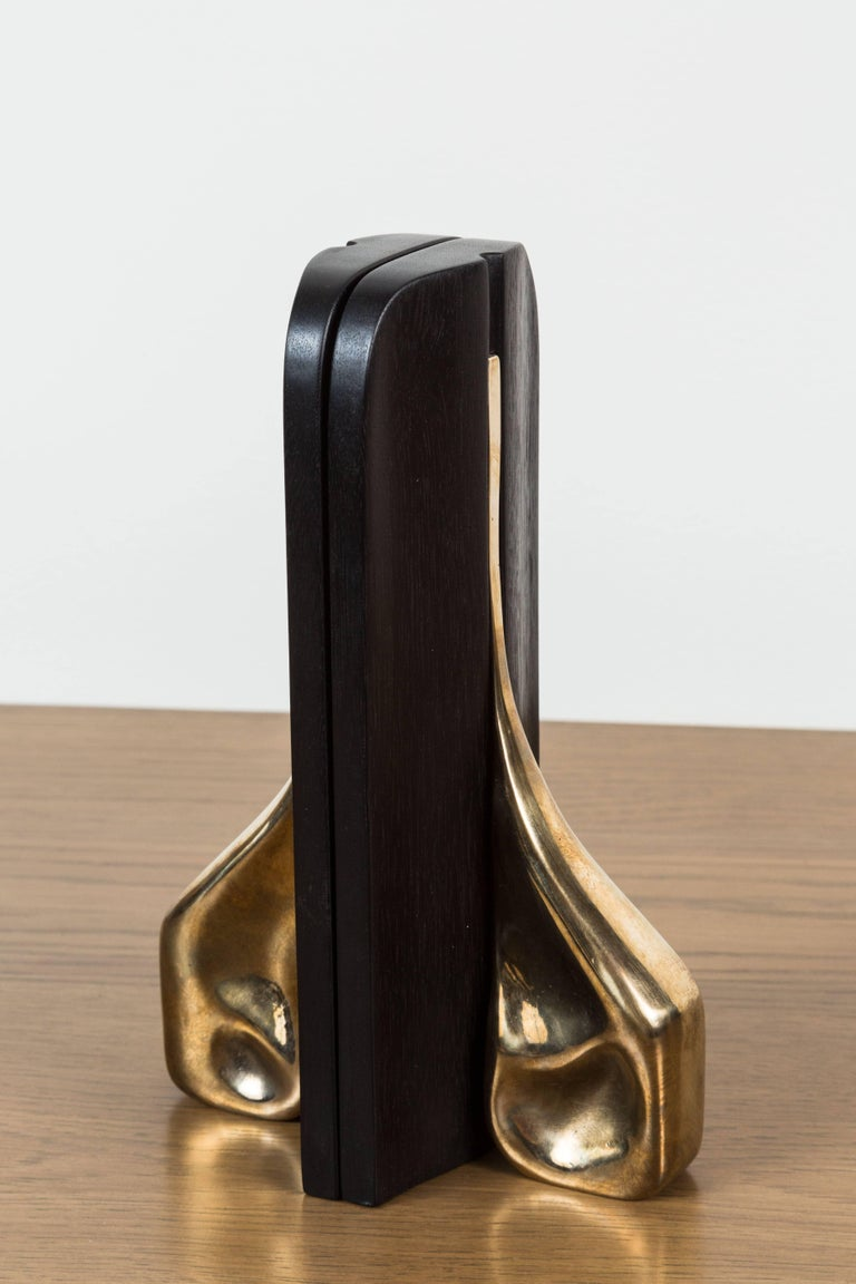 Pair of Blackened Walnut and Brass Bookends by Vincent Pocsik for Lawson-Fenning For Sale 1