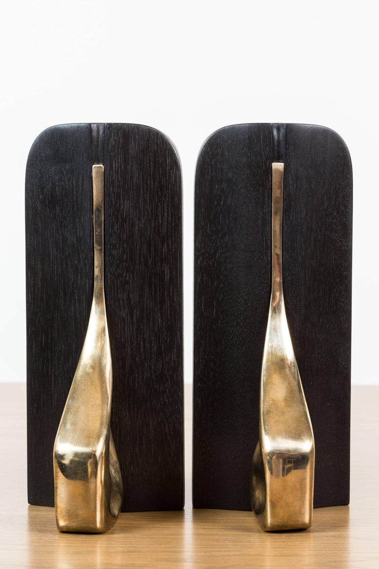 Pair of Blackened Walnut and Brass Bookends by Vincent Pocsik for Lawson-Fenning For Sale 3