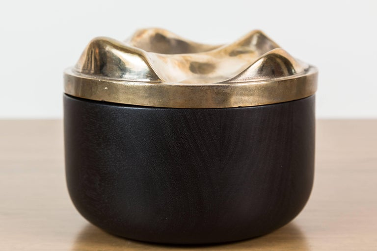 Blackened Walnut and Brass Bowl by Vincent Pocsik 3