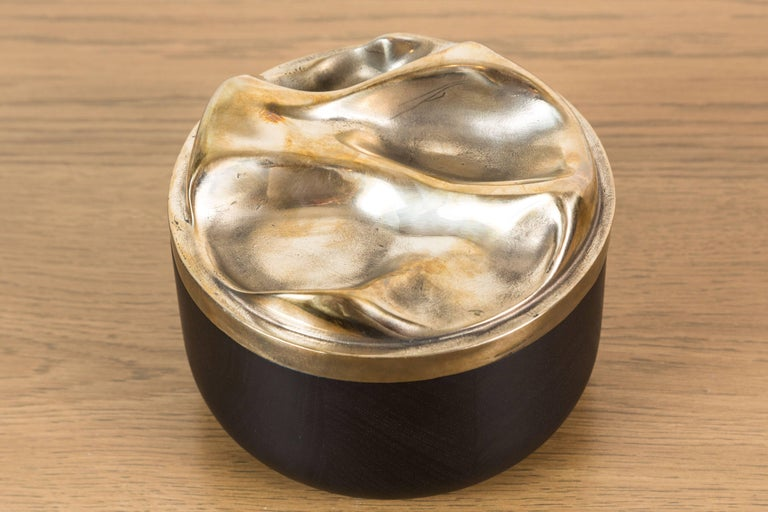 Contemporary Blackened Walnut and Brass Bowl by Vincent Pocsik for Lawson-Fenning For Sale