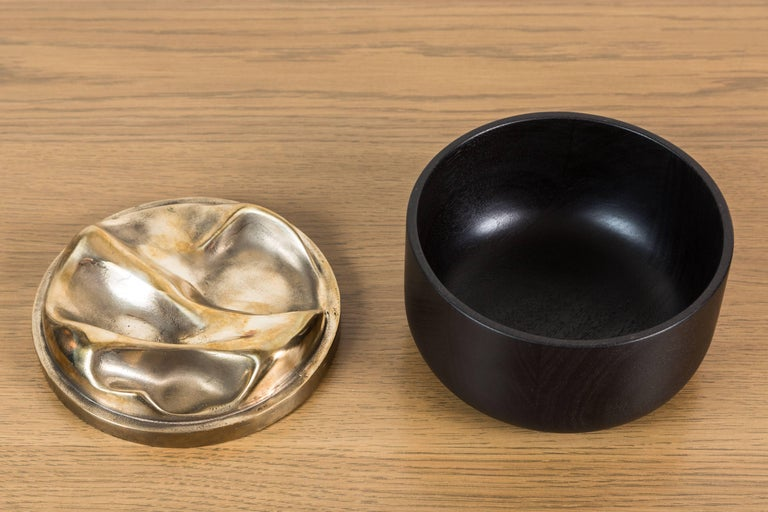Blackened Walnut and Brass Bowl by Vincent Pocsik for Lawson-Fenning For Sale 2