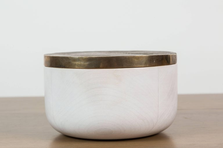 American Bleached Maple and Brass Bowl by Vincent Pocsik for Lawson-Fenning For Sale