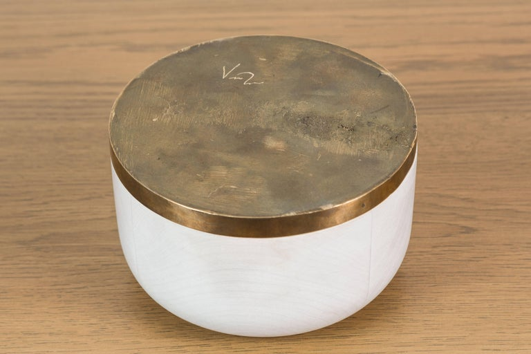 Bleached Maple and Brass Bowl by Vincent Pocsik for Lawson-Fenning In Excellent Condition For Sale In Los Angeles, CA