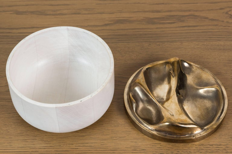 Contemporary Bleached Maple and Brass Bowl by Vincent Pocsik for Lawson-Fenning For Sale