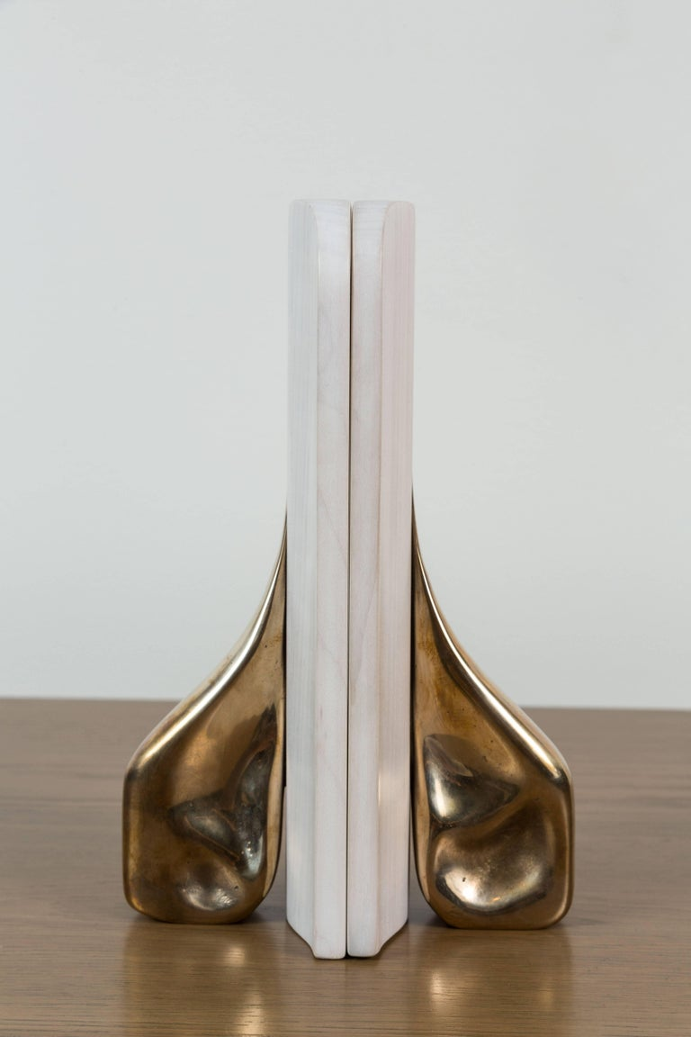 Pair of bleached maple and brass bookends by Vincent Pocsik for Lawson-Fenning