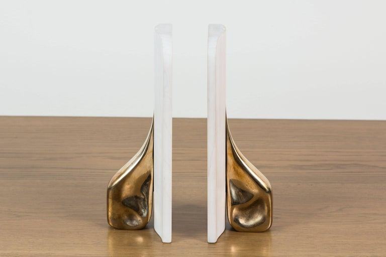 Mid-Century Modern Pair of Bleached Maple and Brass Bookends by Vincent Pocsik for Lawson-Fenning For Sale