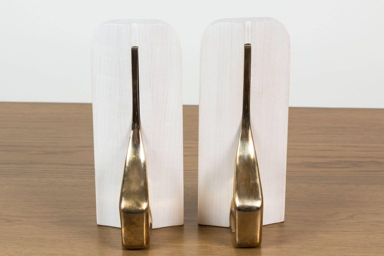 Pair of Bleached Maple and Brass Bookends by Vincent Pocsik for Lawson-Fenning For Sale 1