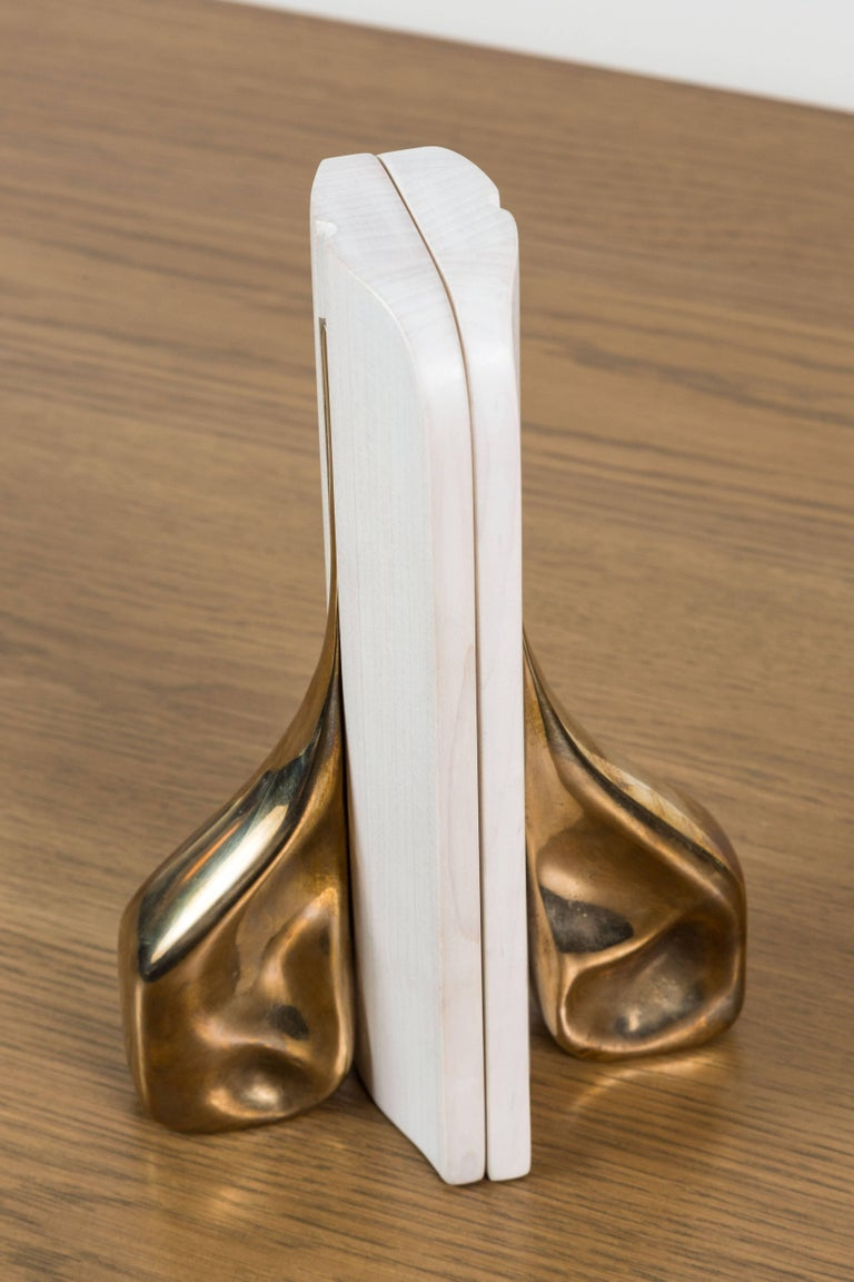 Pair of Bleached Maple and Brass Bookends by Vincent Pocsik for Lawson-Fenning For Sale 2
