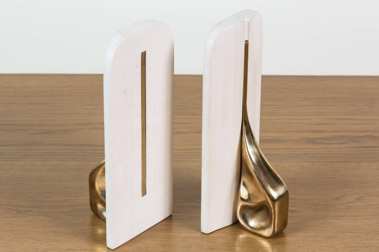 Pair of Bleached Maple and Brass Bookends by Vincent Pocsik for Lawson-Fenning For Sale 3