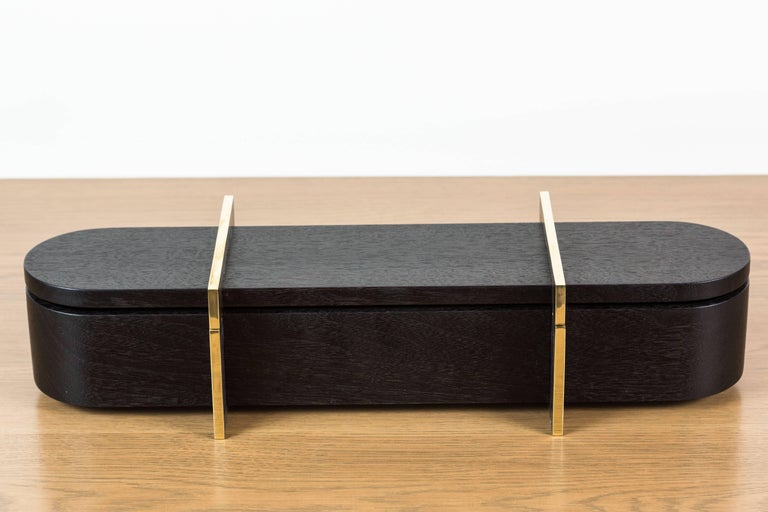 Mid-Century Modern Blackened Walnut and Brass Lidded Box by Vincent Pocsik for Lawson-Fenning For Sale