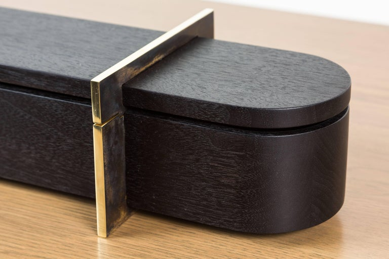 Blackened Walnut and Brass Lidded Box by Vincent Pocsik for Lawson-Fenning In Excellent Condition For Sale In Los Angeles, CA