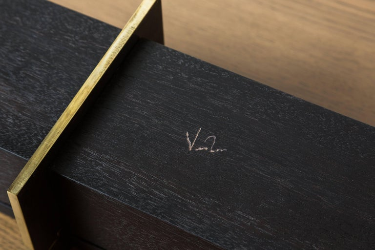 Contemporary Blackened Walnut and Brass Lidded Box by Vincent Pocsik for Lawson-Fenning For Sale