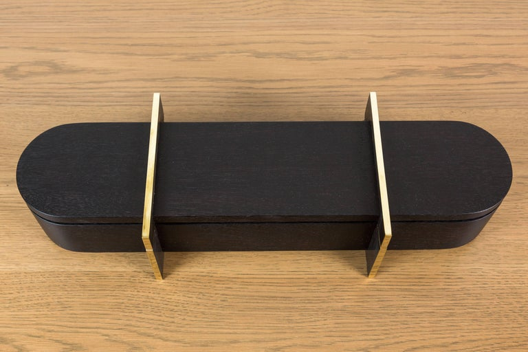 Blackened Walnut and Brass Lidded Box by Vincent Pocsik for Lawson-Fenning For Sale 2