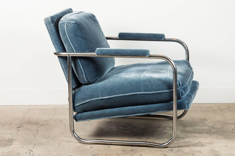 Mid-Century Modern Pair of Mohair and Chrome Armchairs by Pace Collection For Sale