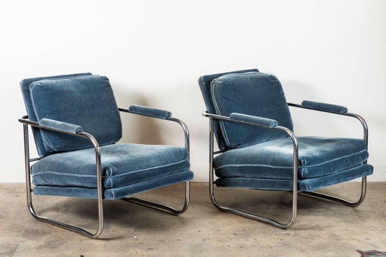 Pair of Mohair and Chrome Armchairs by Pace Collection 2