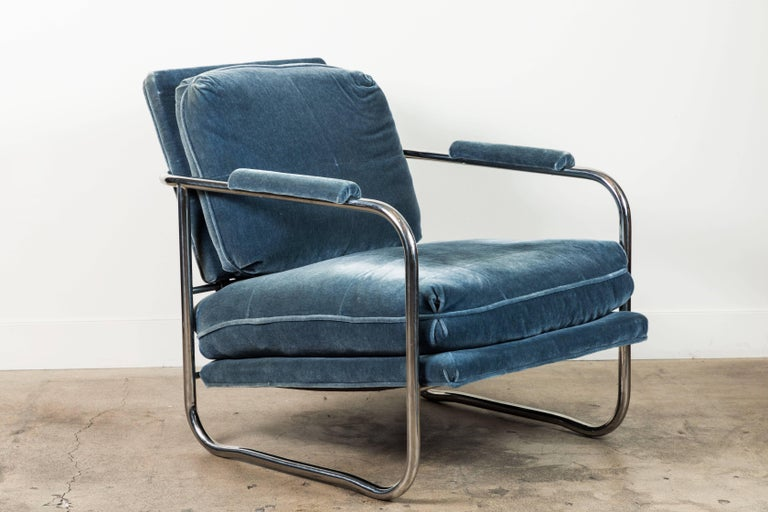 Pair of Mohair and Chrome Armchairs by Pace Collection In Excellent Condition For Sale In Los Angeles, CA