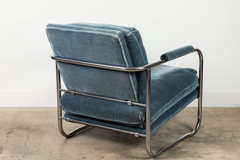 Mid-20th Century Pair of Mohair and Chrome Armchairs by Pace Collection For Sale