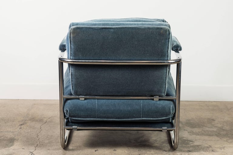Pair of Mohair and Chrome Armchairs by Pace Collection For Sale 1