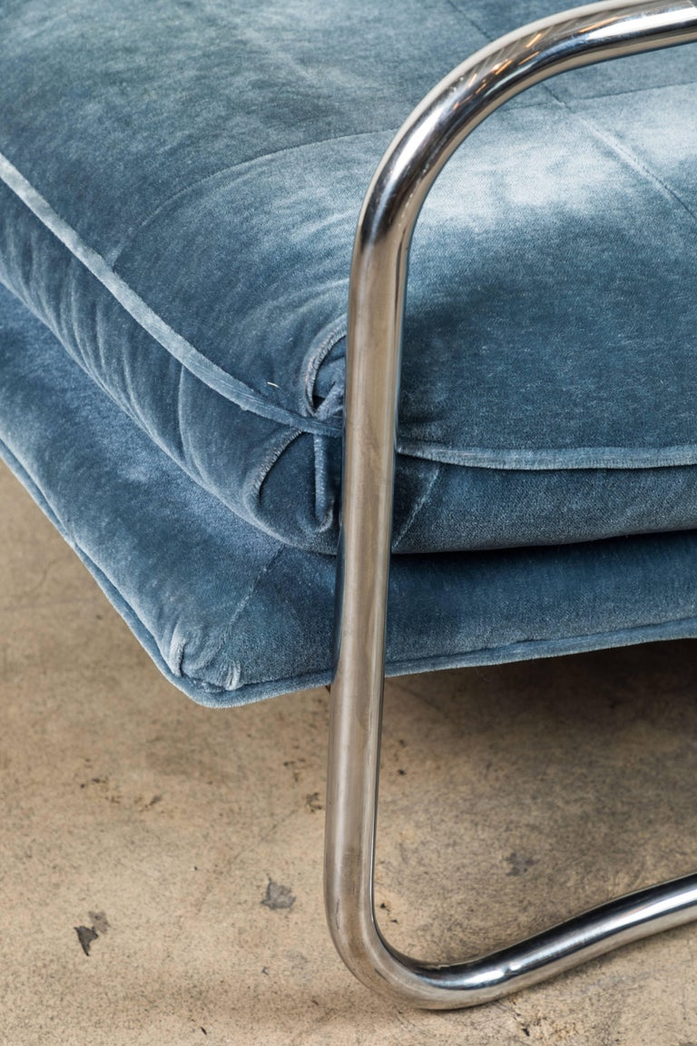 Pair of Mohair and Chrome Armchairs by Pace Collection 8
