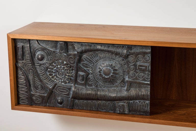 Contemporary Teak and Cast Bronze Cabinet by Stan Bitters For Sale