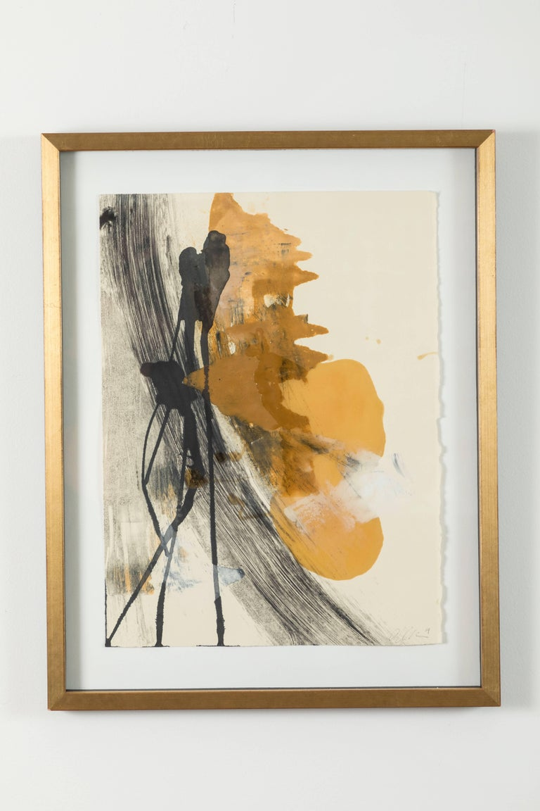 Pair of abstract monoprints by Anna Ullman, 2016.