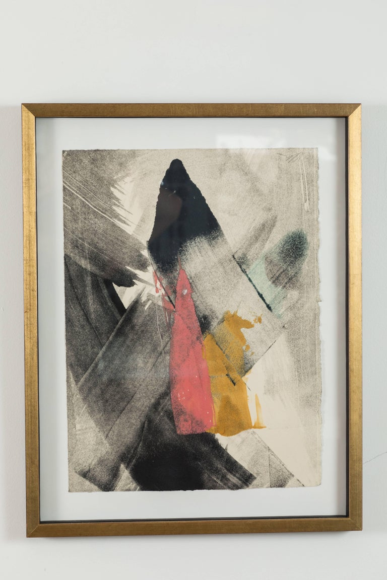 Mid-Century Modern Pair of Abstract Monoprints by Anna Ullman For Sale