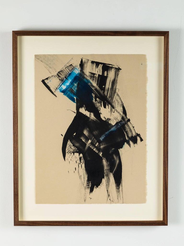 Blue black abstract monoprint by Anna Ullman.