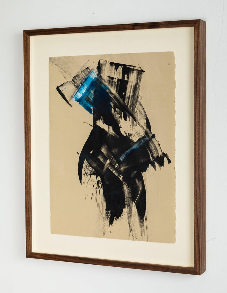 Mid-Century Modern Blue Black Abstract Monoprint by Anna Ullman For Sale